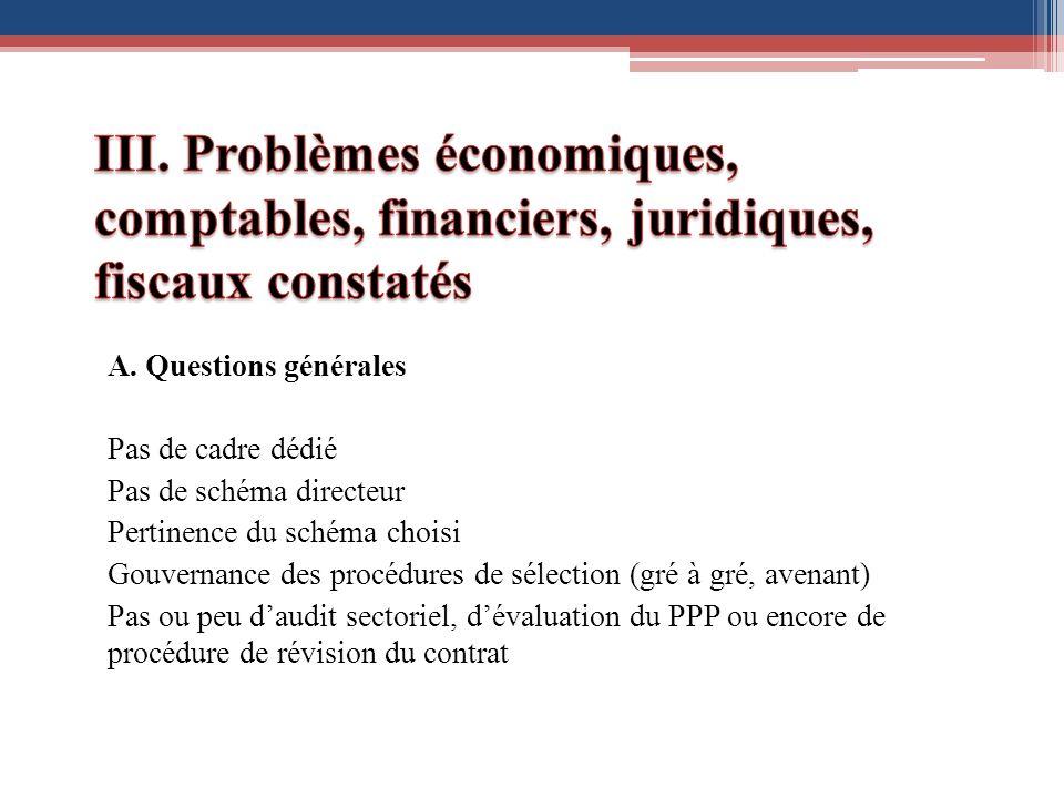 III. Problèmes économiques, comptables, financiers, juridiques, fiscaux constatés