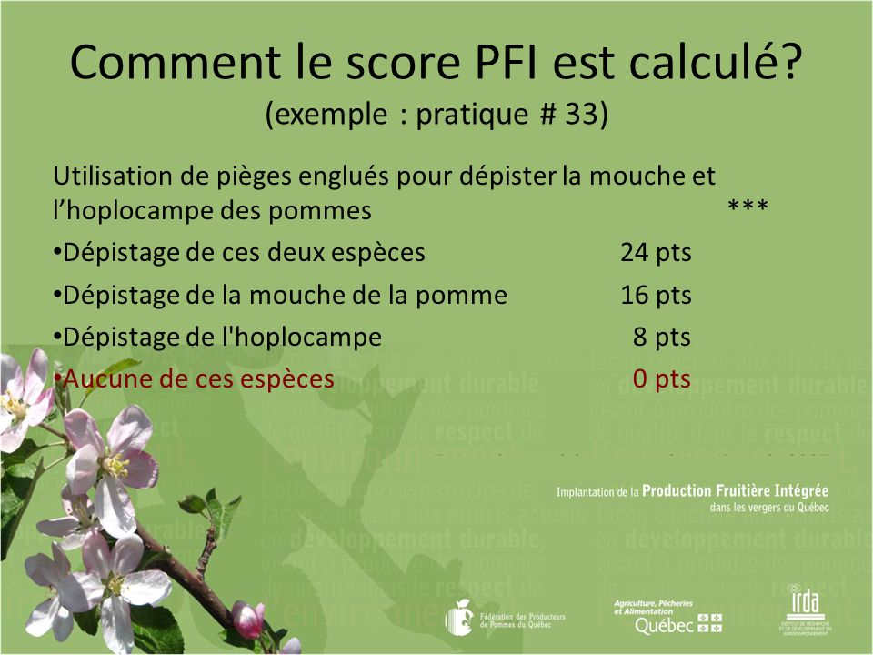 Comment le score PFI est calculé (exemple : pratique # 33)