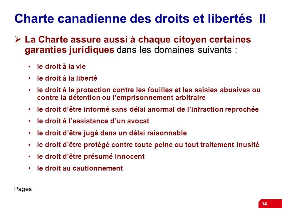 Charte canadienne des droits et libertés II