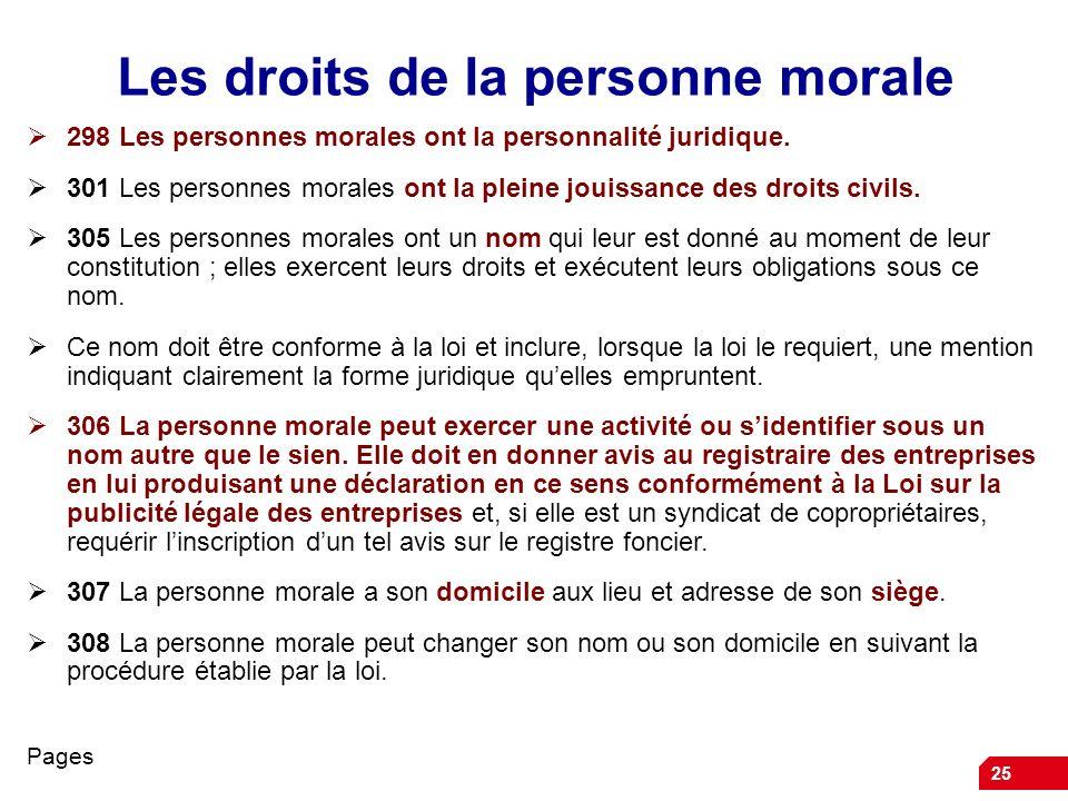 Les droits de la personne morale