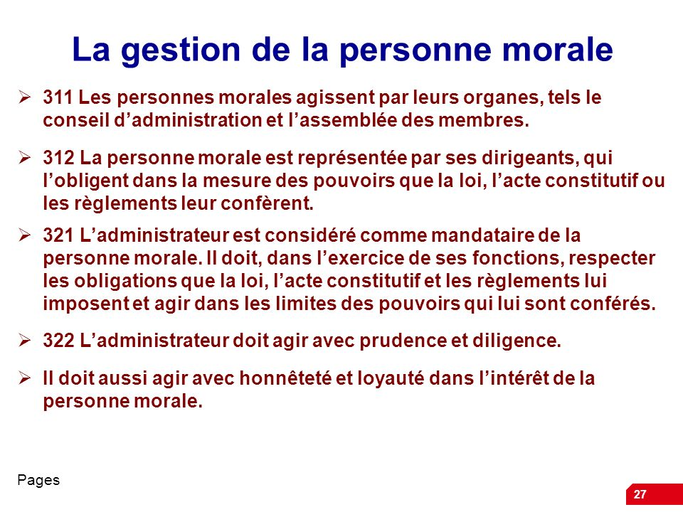 La gestion de la personne morale