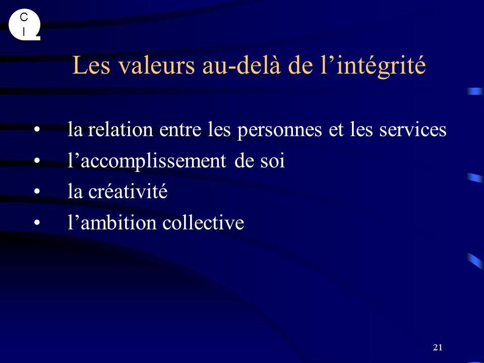 Les valeurs au-delà de l'intégrité