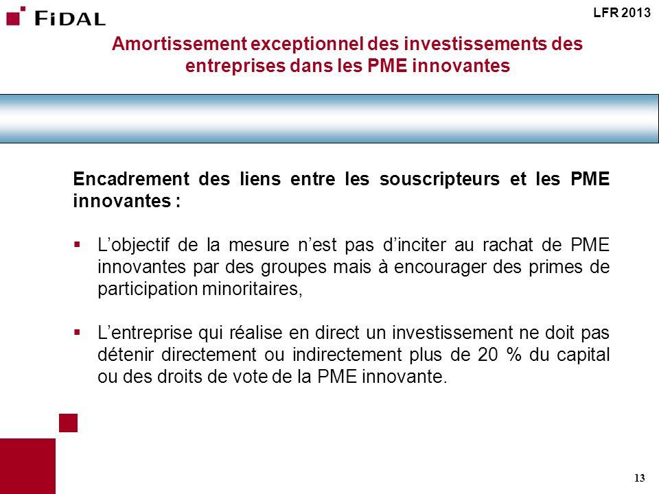 Encadrement des liens entre les souscripteurs et les PME innovantes :
