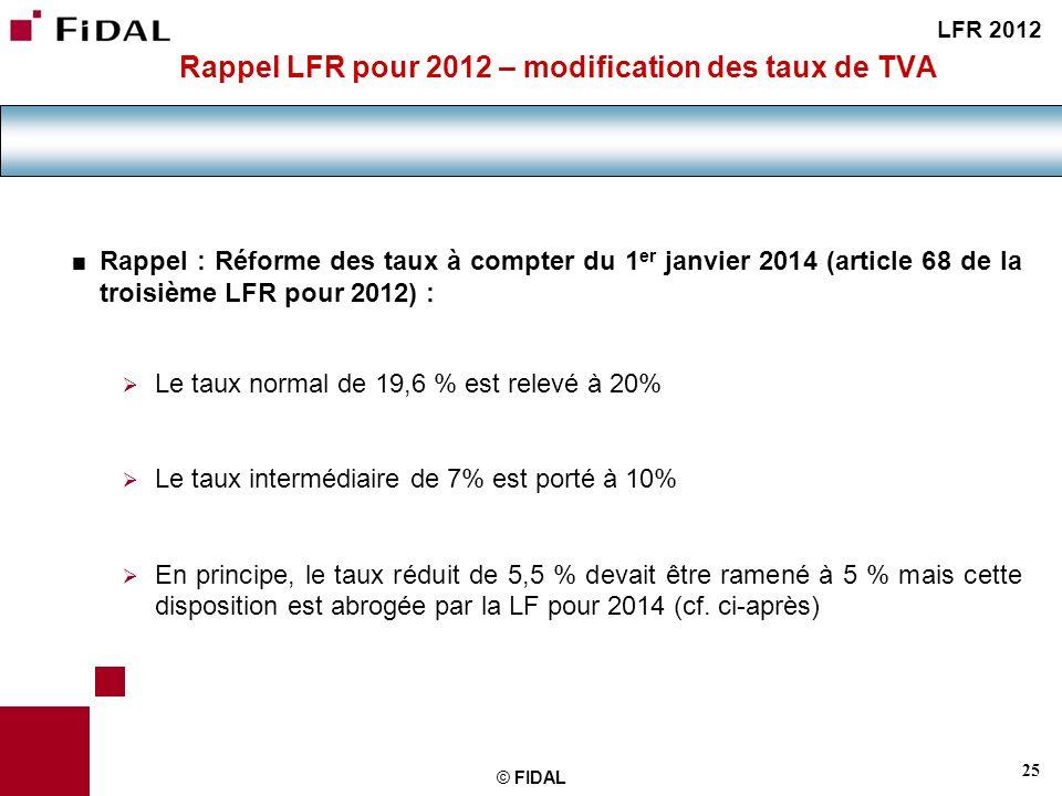 Rappel LFR pour 2012 – modification des taux de TVA