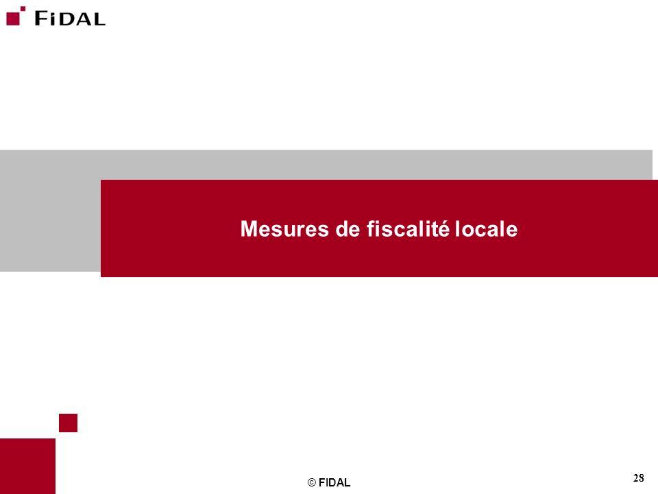 Mesures de fiscalité locale