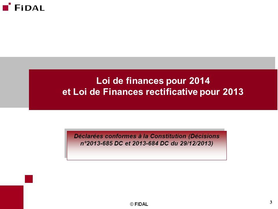 et Loi de Finances rectificative pour 2013