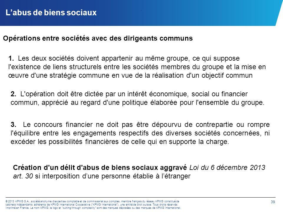 L'abus de biens sociaux