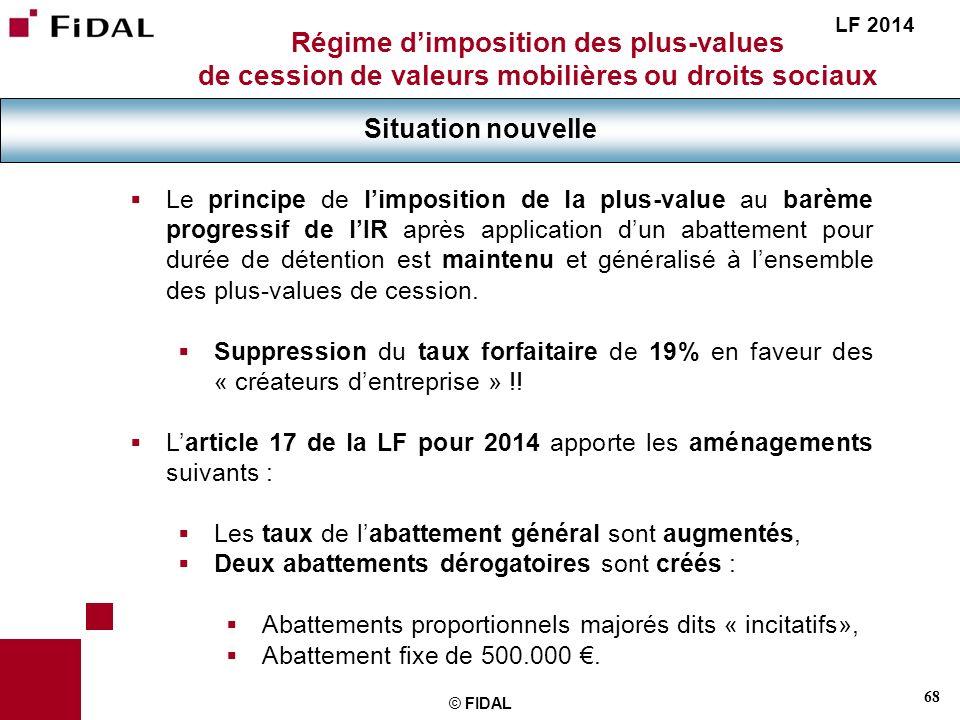 LF 2014 Régime d'imposition des plus-values de cession de valeurs mobilières ou droits sociaux. Situation nouvelle.