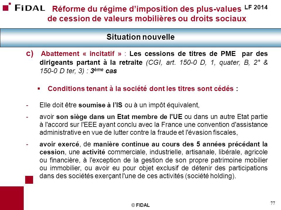 Réforme du régime d'imposition des plus-values de cession de valeurs mobilières ou droits sociaux
