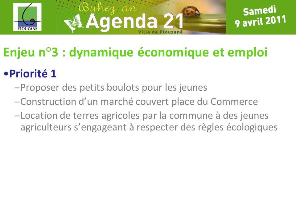 Enjeu n°3 : dynamique économique et emploi