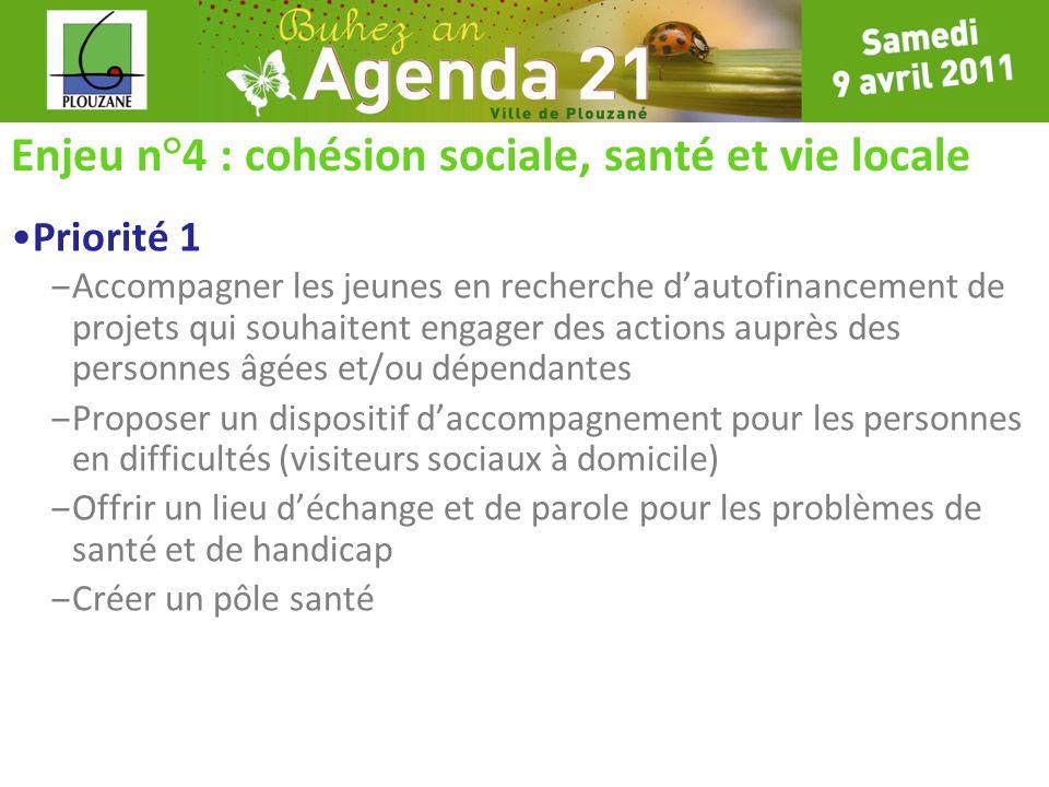 Enjeu n°4 : cohésion sociale, santé et vie locale