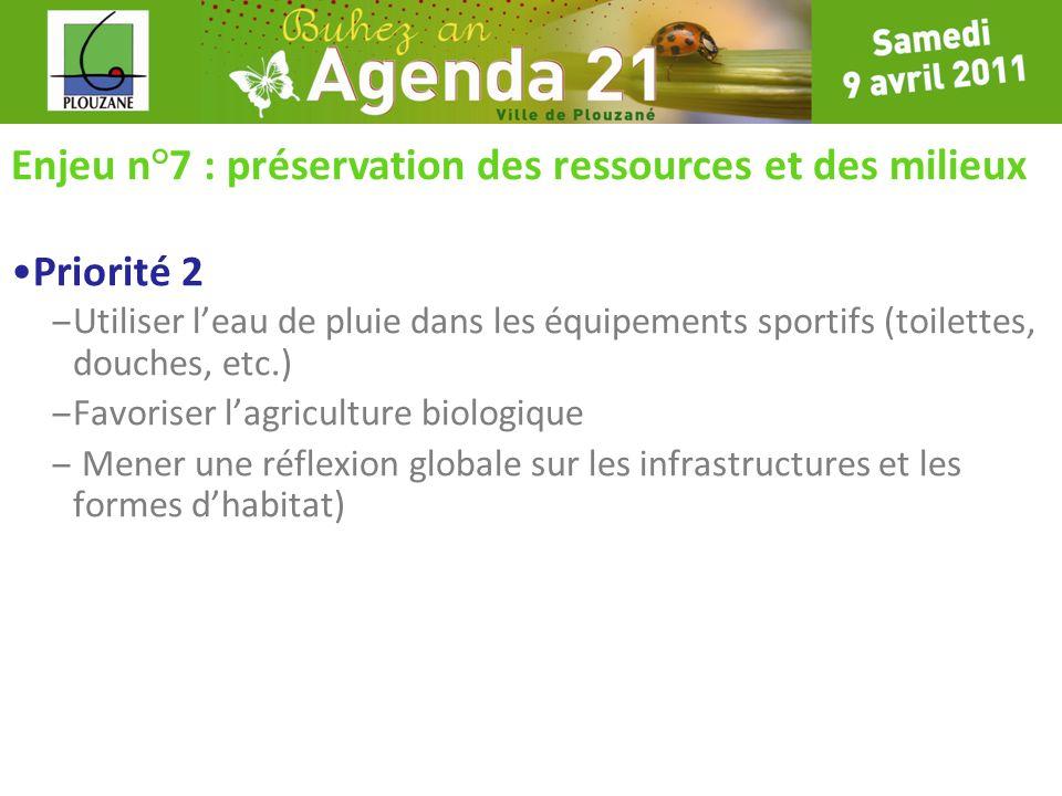 Enjeu n°7 : préservation des ressources et des milieux