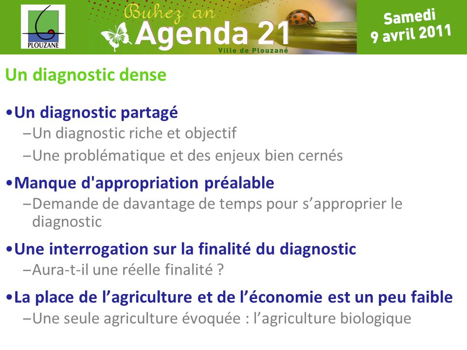 Un diagnostic dense Un diagnostic partagé