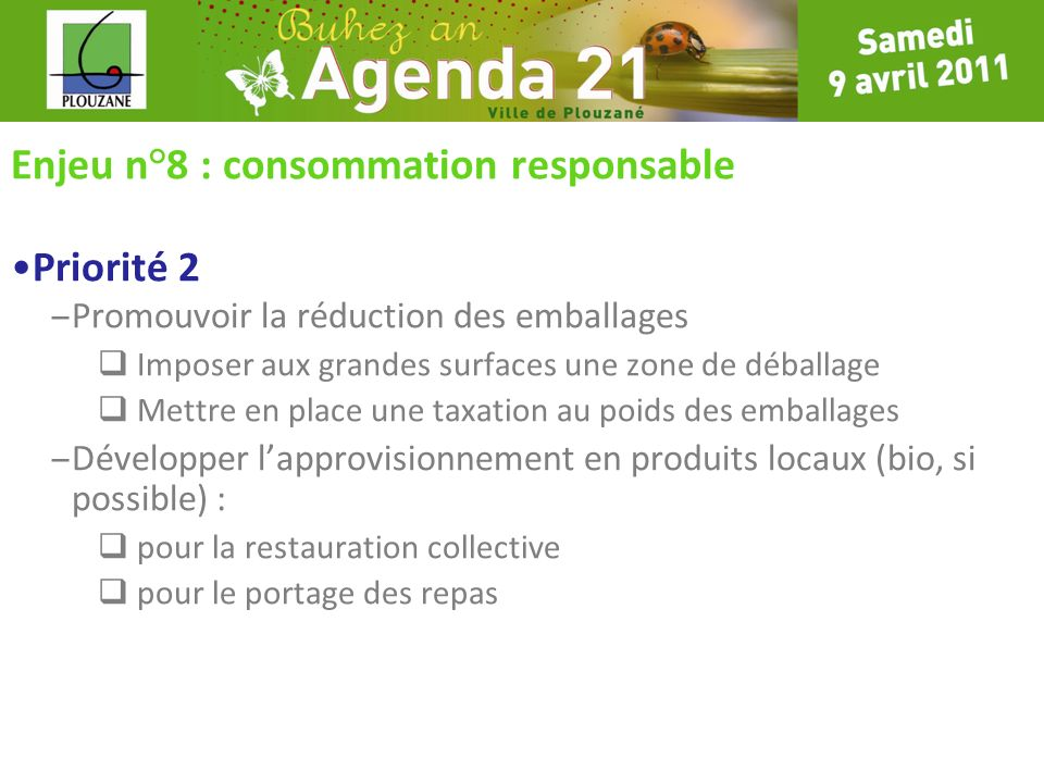 Enjeu n°8 : consommation responsable