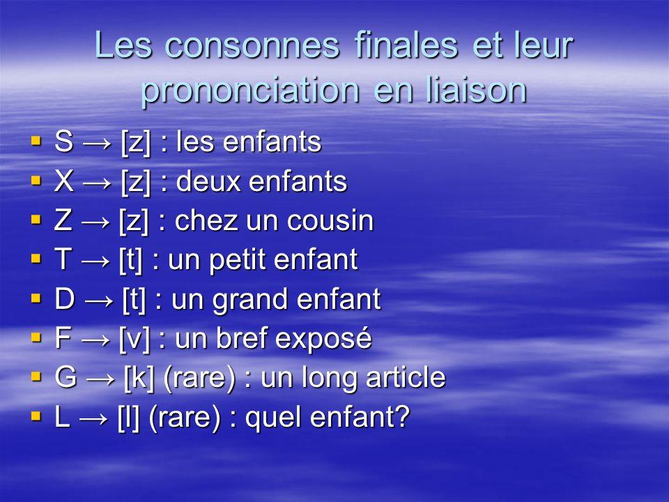 Les consonnes finales et leur prononciation en liaison