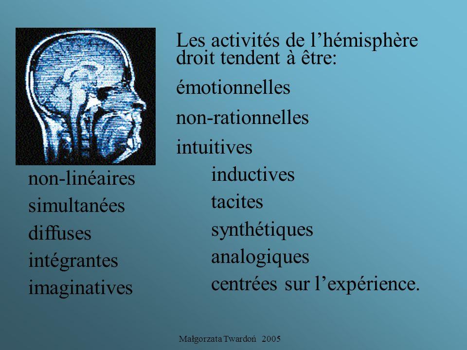 Les activités de l'hémisphère droit tendent à être: émotionnelles