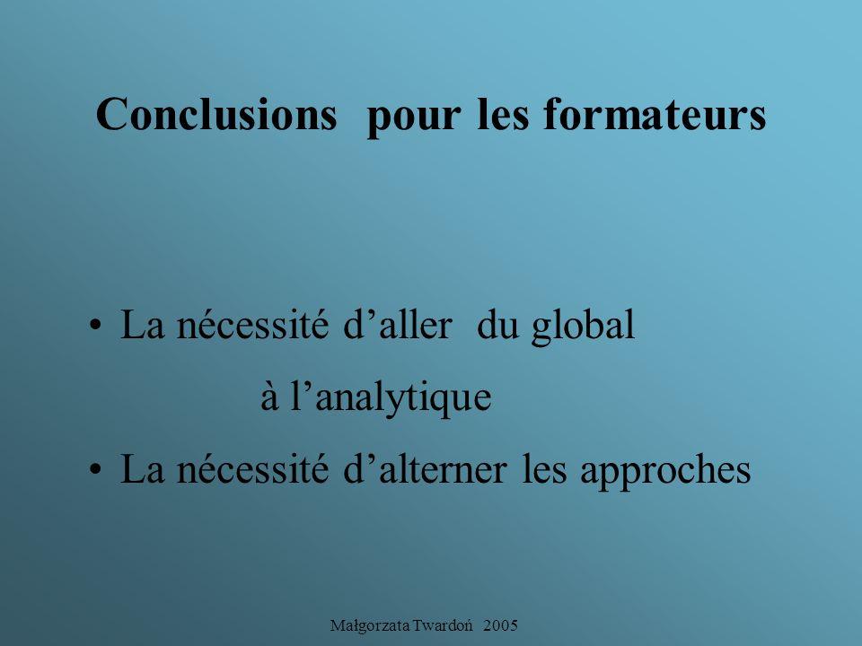 Conclusions pour les formateurs