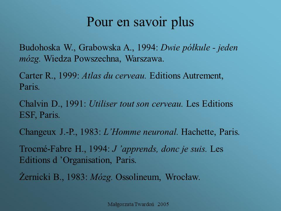 Pour en savoir plus Budohoska W., Grabowska A., 1994: Dwie półkule - jeden mózg. Wiedza Powszechna, Warszawa.