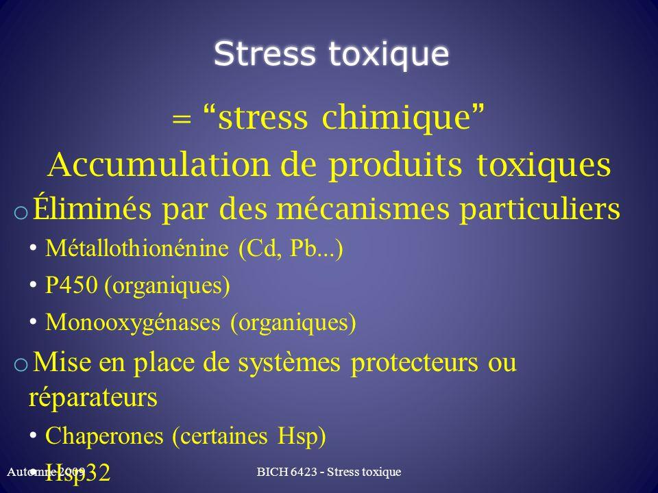 Accumulation de produits toxiques