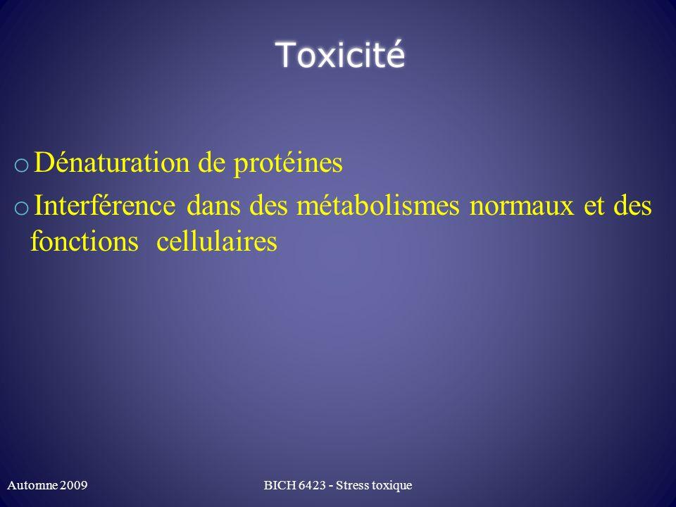 Toxicité Dénaturation de protéines