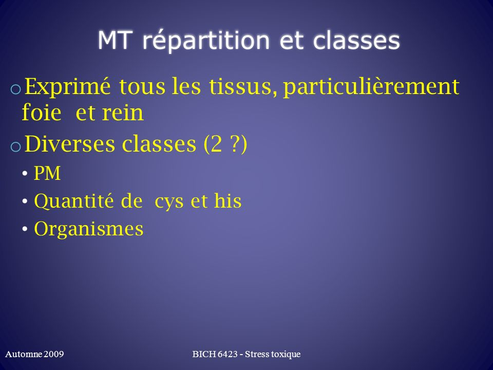 MT répartition et classes