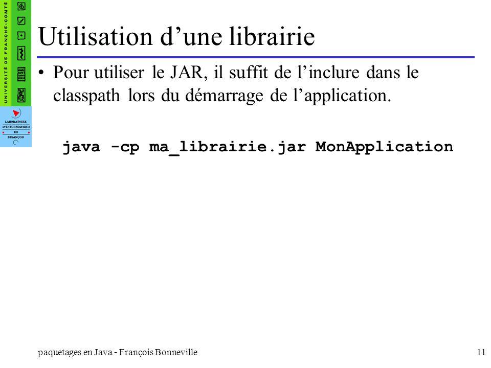 Utilisation d'une librairie