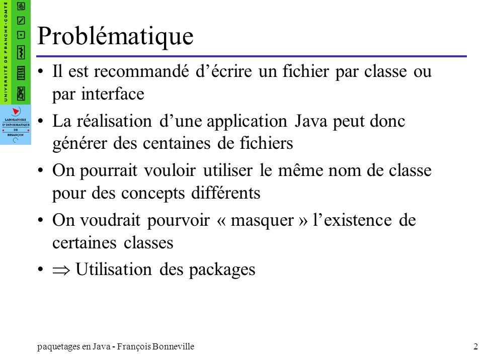Problématique Il est recommandé d'écrire un fichier par classe ou par interface.