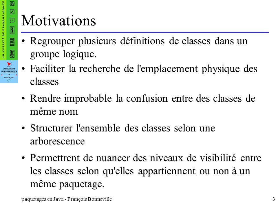 Motivations Regrouper plusieurs définitions de classes dans un groupe logique. Faciliter la recherche de l emplacement physique des classes.