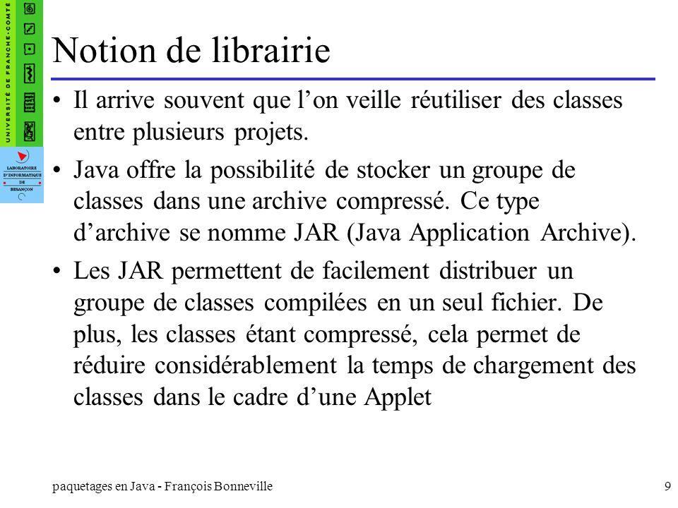 Notion de librairie Il arrive souvent que l'on veille réutiliser des classes entre plusieurs projets.