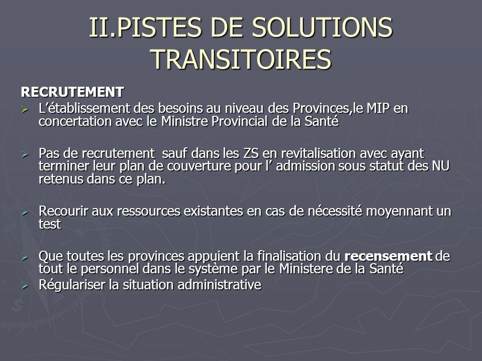 II.PISTES DE SOLUTIONS TRANSITOIRES