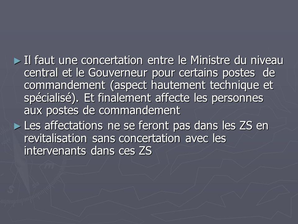 Il faut une concertation entre le Ministre du niveau central et le Gouverneur pour certains postes de commandement (aspect hautement technique et spécialisé). Et finalement affecte les personnes aux postes de commandement