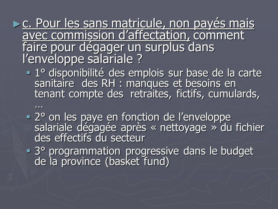 c. Pour les sans matricule, non payés mais avec commission d'affectation, comment faire pour dégager un surplus dans l'enveloppe salariale