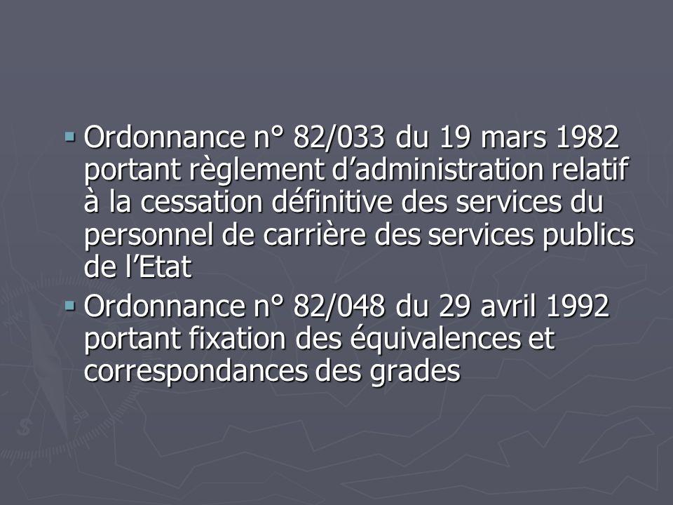 Ordonnance n° 82/033 du 19 mars 1982 portant règlement d'administration relatif à la cessation définitive des services du personnel de carrière des services publics de l'Etat