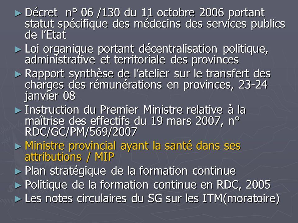 Décret n° 06 /130 du 11 octobre 2006 portant statut spécifique des médecins des services publics de l'Etat