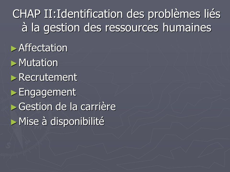 CHAP II:Identification des problèmes liés à la gestion des ressources humaines