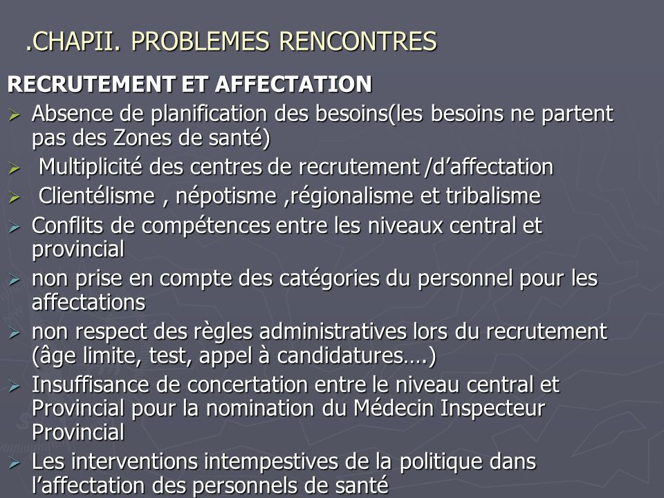 .CHAPII. PROBLEMES RENCONTRES