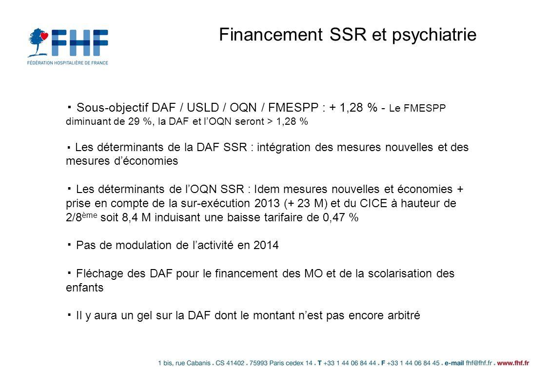 Financement SSR et psychiatrie