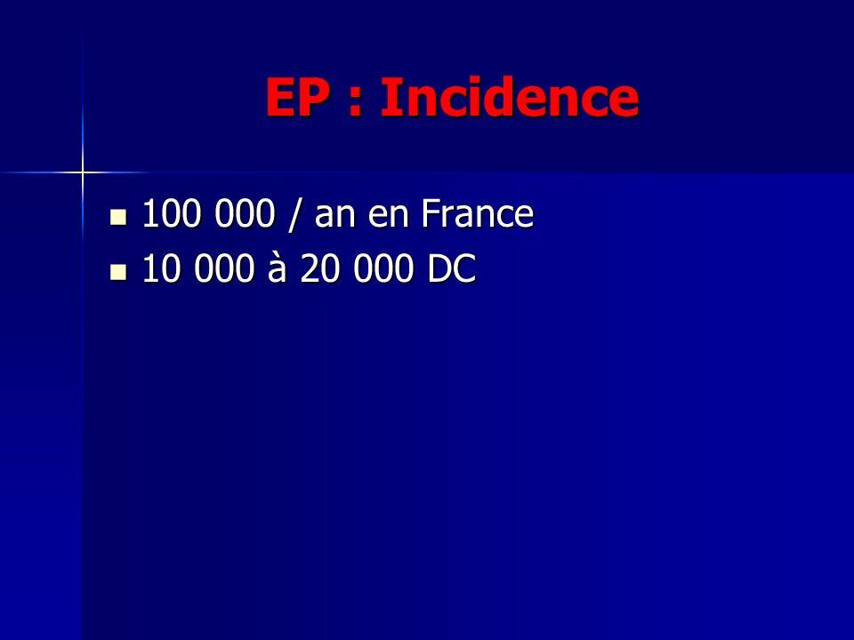 EP : Incidence 100 000 / an en France 10 000 à 20 000 DC