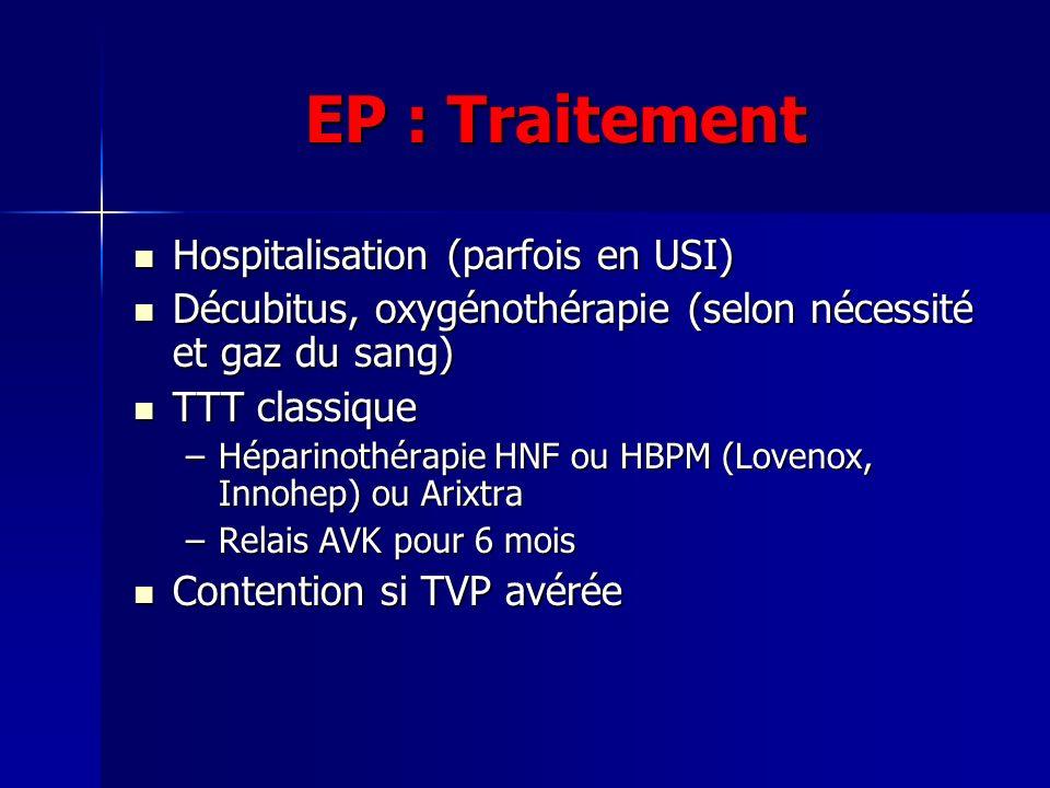 EP : Traitement Hospitalisation (parfois en USI)