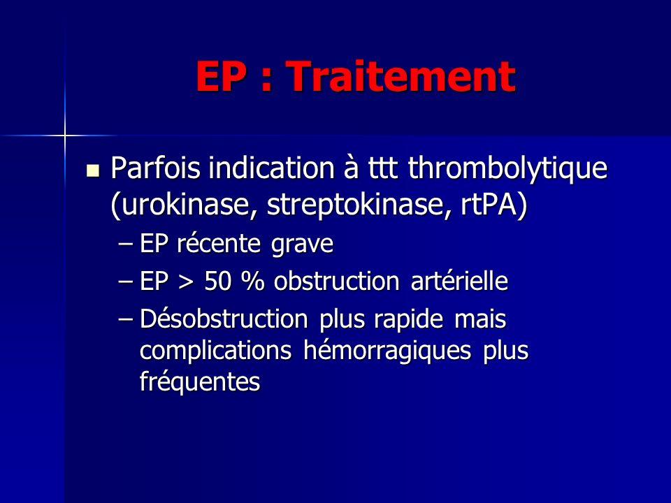 EP : Traitement Parfois indication à ttt thrombolytique (urokinase, streptokinase, rtPA) EP récente grave.