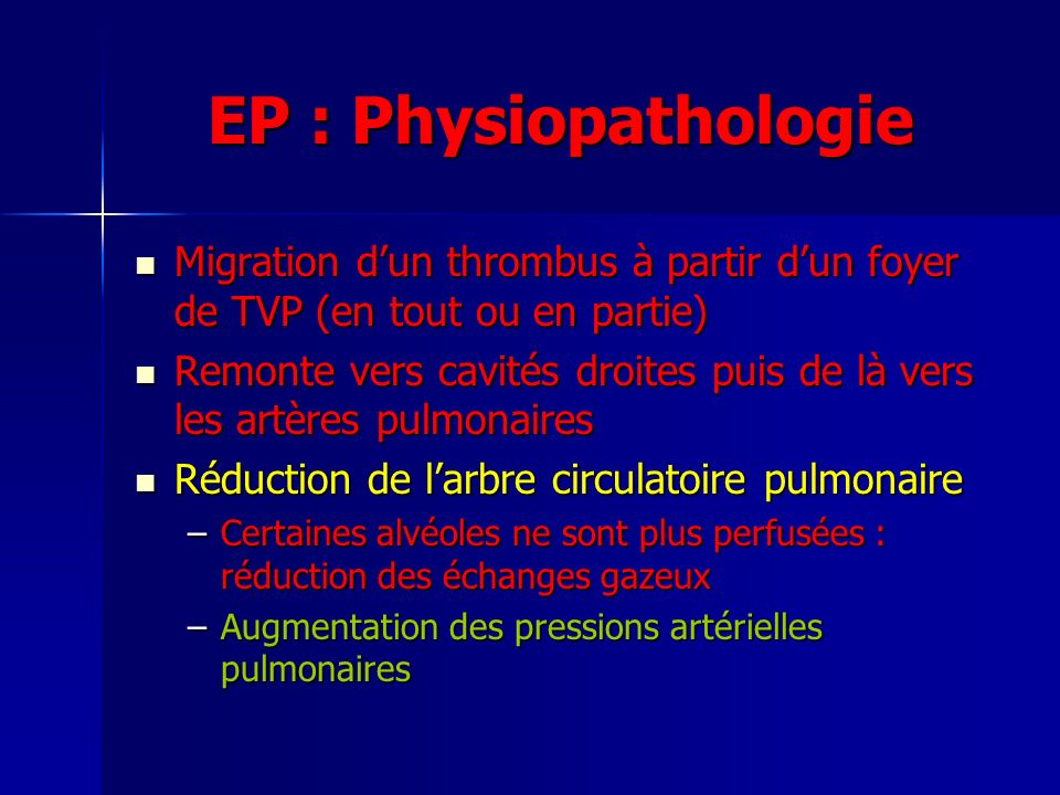 EP : Physiopathologie Migration d'un thrombus à partir d'un foyer de TVP (en tout ou en partie)