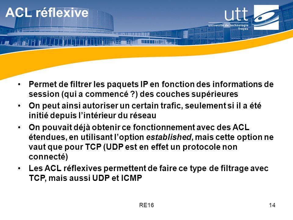 ACL réflexive Permet de filtrer les paquets IP en fonction des informations de session (qui a commencé ) des couches supérieures.