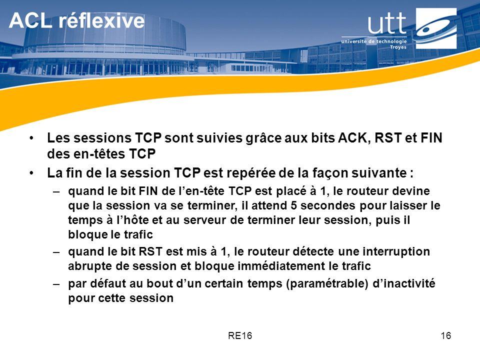 ACL réflexive Les sessions TCP sont suivies grâce aux bits ACK, RST et FIN des en-têtes TCP.