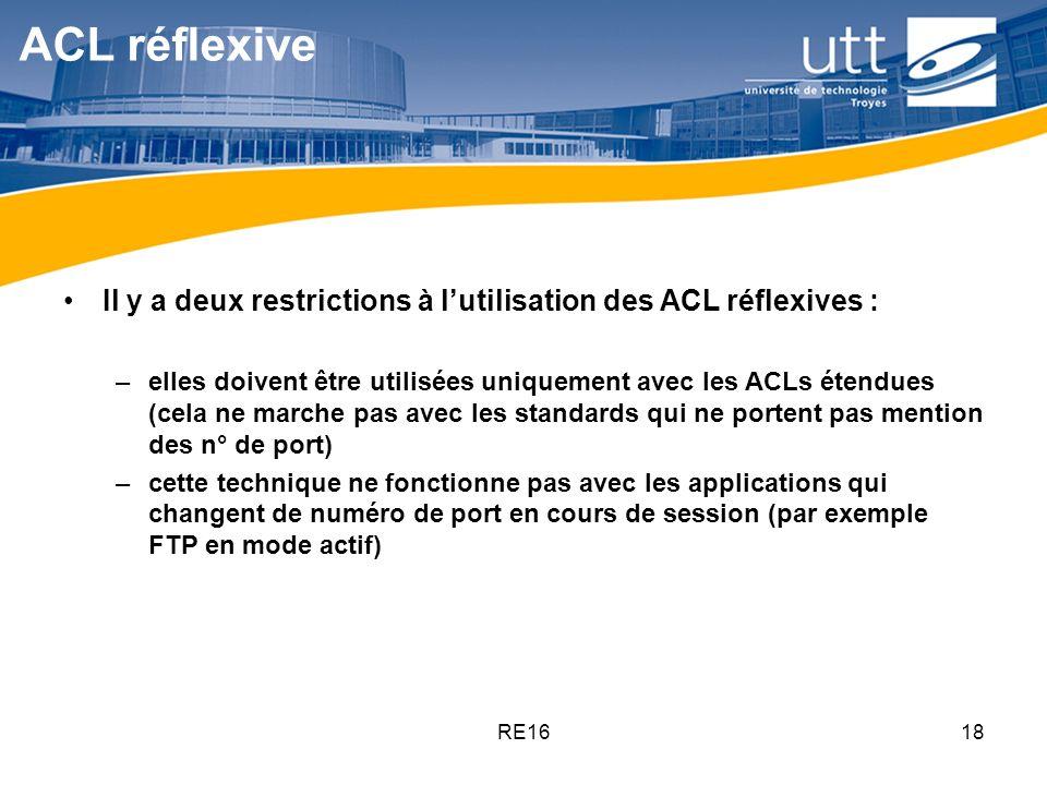 ACL réflexive Il y a deux restrictions à l'utilisation des ACL réflexives :