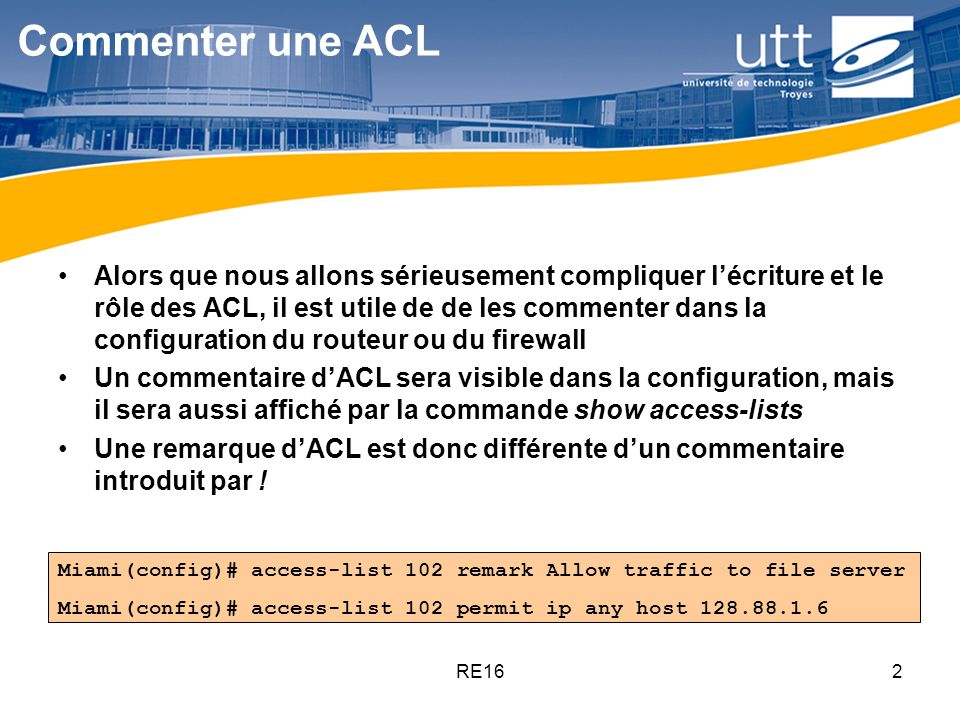 Commenter une ACL