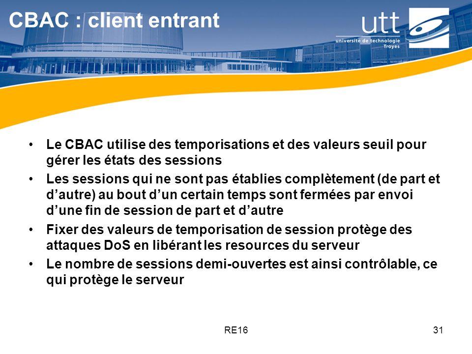 CBAC : client entrant Le CBAC utilise des temporisations et des valeurs seuil pour gérer les états des sessions.