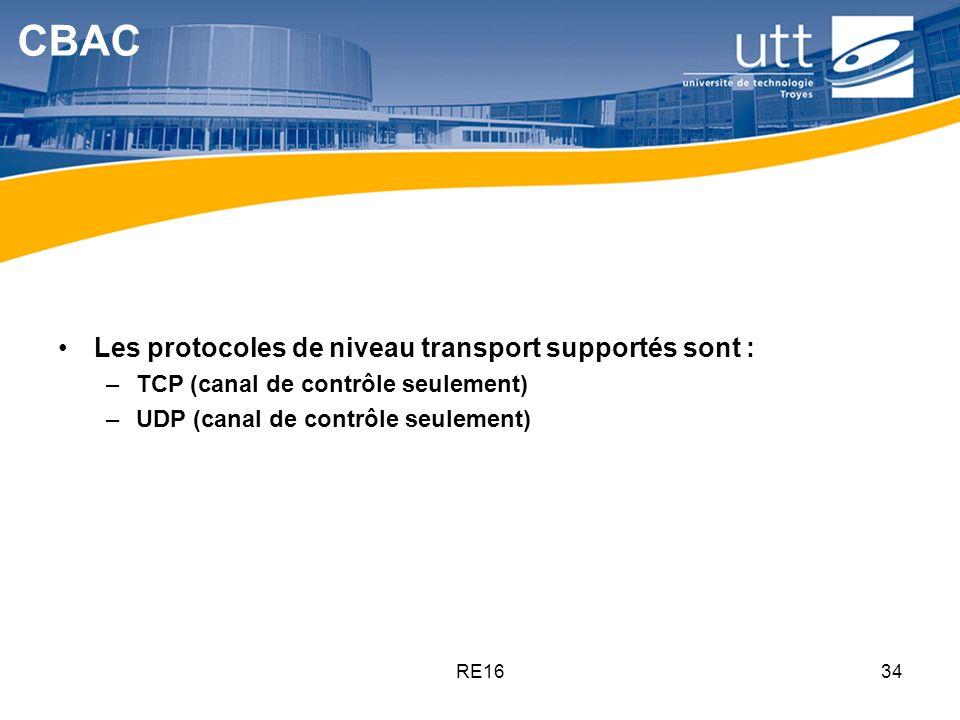 CBAC Les protocoles de niveau transport supportés sont :