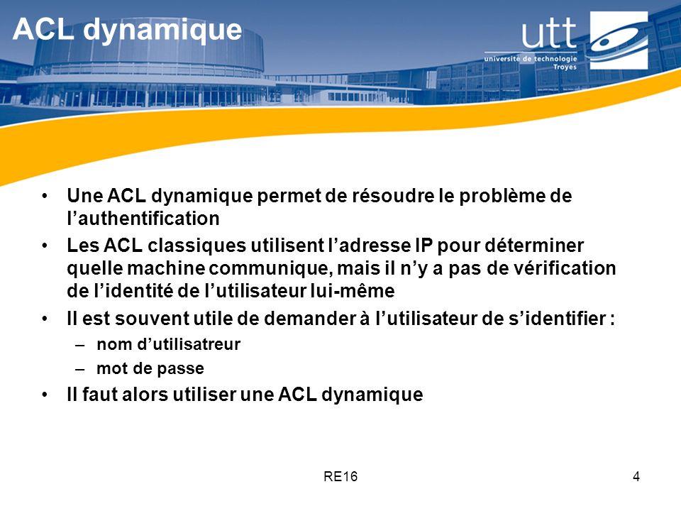 ACL dynamique Une ACL dynamique permet de résoudre le problème de l'authentification.