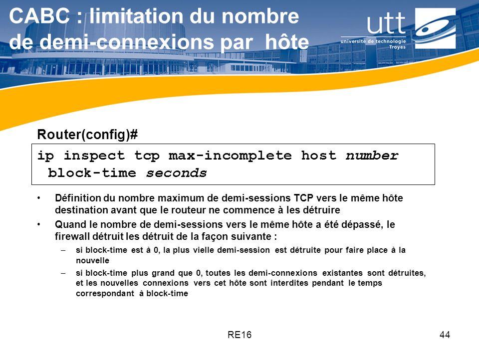 CABC : limitation du nombre de demi-connexions par hôte