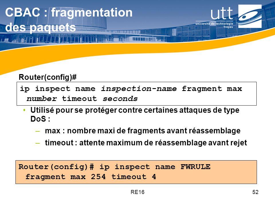 CBAC : fragmentation des paquets